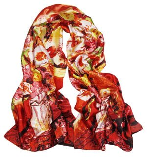 S Cloth Women Girl Lady Fashion Satin Oil Painting Long Oblong Silk Sarf Wrap Shawl Beach Silk Scarf