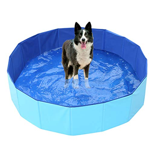 LYCIL-Pet-Swimming-PoolPortable-Foldable-Pool-Dogs-Cats-Bathing-Tub-Bathtub-Pet-Spa-Outdoor-Bathing-Tub-Kids-Kiddie-Pools-Blue-160x30cm