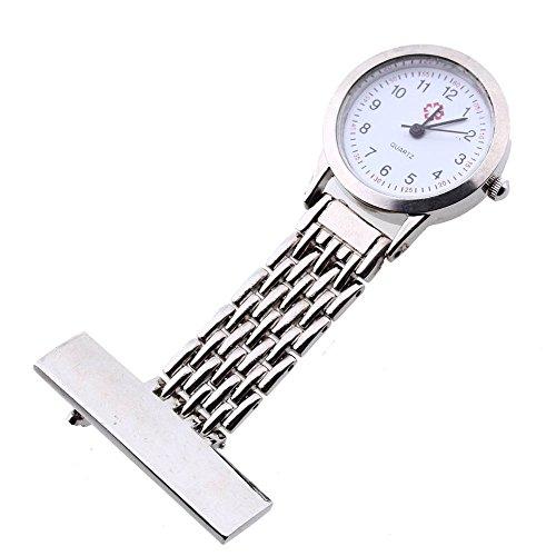 SODIAL(R) Silver Nurse Doctor Brooch Pocket Pendant Quartz Watch Quartz Silver Pendant Watch