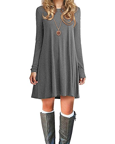Century Sleeve O Grey Dress Size Women's Basic Dress Long Neck Plus Casual Ladies Shirt Loose Star T Solid Color 8pwrqUxX8