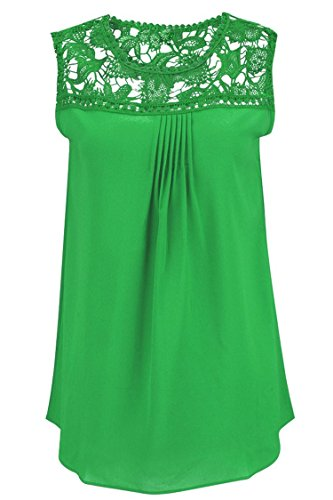 Manzocha Women's Lace Chiffon T Shirt Stitching Blouse Hollow Out Tops – Medium, Green