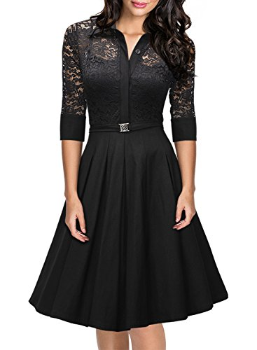 Missmay-Womens-Vintage-1950s-Style-34-Sleeve-Black-Lace-Flare-A-line-Dress