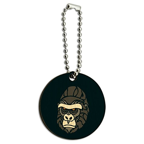 Gorilla Keychain (Gorilla Face Wood Wooden Round Keychain Key Chain Ring)