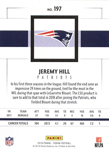 Amazon.com  2018 Panini NFL Football  197 Jeremy Hill New England Patriots  Official Trading Card  Collectibles   Fine Art 81e728336