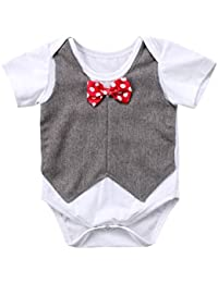 Newborn Baby Boys Girls Bowtie Short Sleeve Romper...