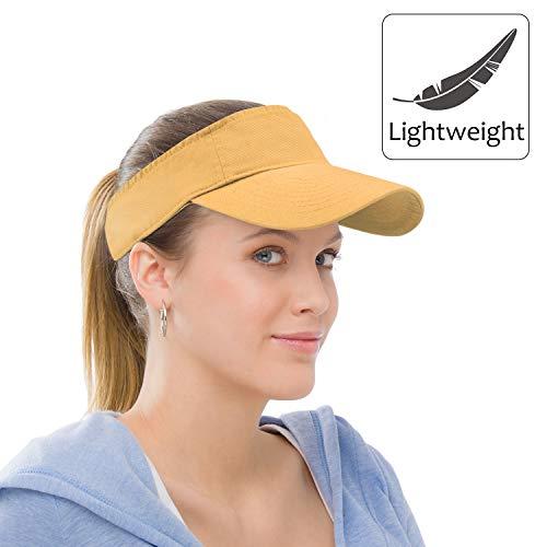 Sun Visor Sports Cotton Twill Plain Hat with Adjustable Strap for Men Women Outdoor Golf Tennis Running Jogging Hiking