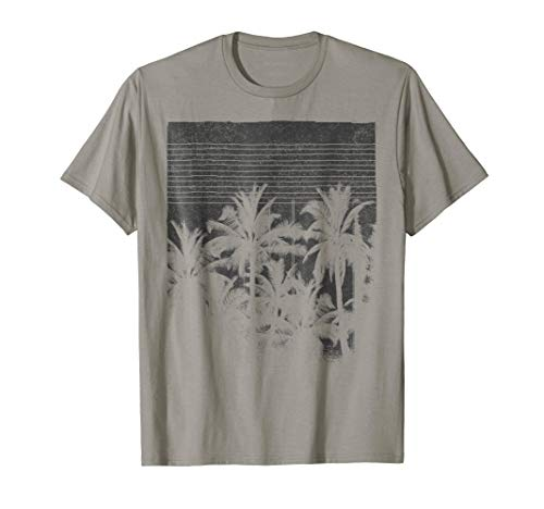 Palm Tree Silhouette Faded Grunge Vintage Graphic T-Shirt