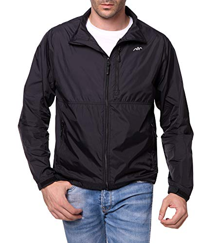 Trailside Supply Co. Men's Standard Water-Repellent Nylon Windbreaker Front-Zip up Jacket, Jet Black, -