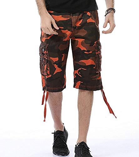 HSRKB Men's Belted Cargo Short, Cropped Pants, Long Shorts for Men (A083-Orange Camo, 40)