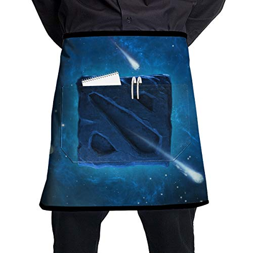 (Cureably Wallpaper Galaxy Style Logo Personalized Half-Length Apron with Pockets Unisex for Kitchen Restaurant BBQ )