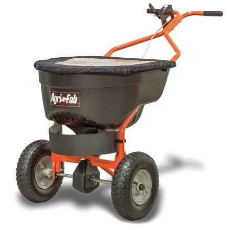 (130lb Ice Control Push Salt Spreader with Large Pneumatic Tires, 25,000 sq. ft. coverage)