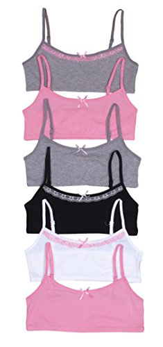 'Sweet & Sassy Girls\' 6 Pack Cotton and Spandex Crop Training Bra, Assoreted Colors,' Large (Childrens Trainers Girls)
