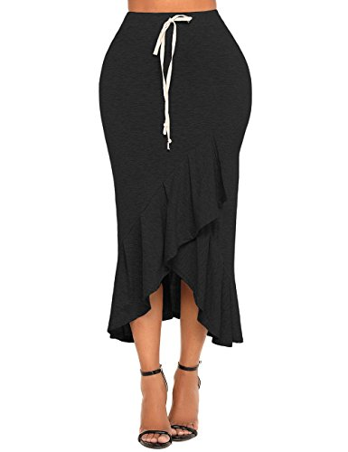 GRAPENT Women's Black Casual High Waist Ruffle Asymmetrical Hem Bodycon Long Skirt Size Large (Fit US 12 - US 14)