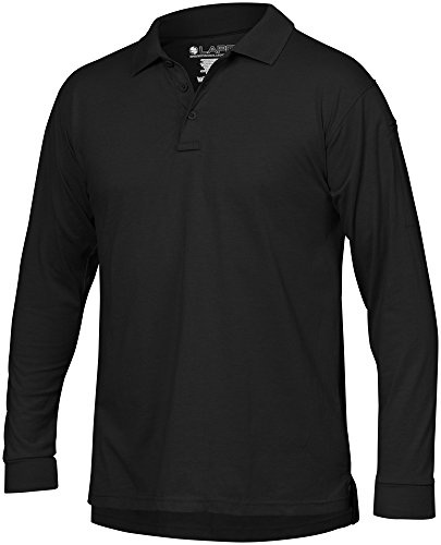 (LA Police Gear Men Antiwrinkle Operator Tactical Long Sleeve Polo Shirt BLK-L )