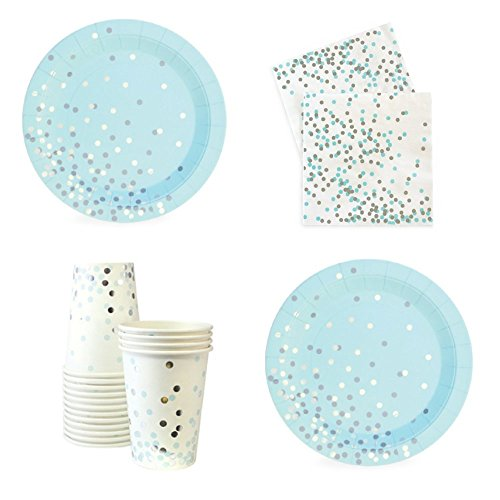 FAKKOS Design Blue and Silver Party Supplies for Baby Boy Bridal Shower Birthday Elegant Silver Foil Stamp Including Paper Dessert Appetizer Plates, Napkins & Cups