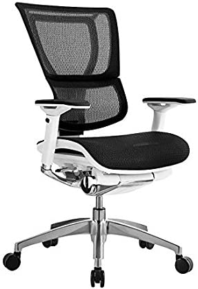 iOO Eurotech Office Ergonomic Chair Black Mesh and White Frame NO Head Rest
