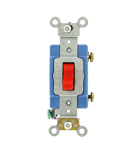 mp, 120/277 Volt, Toggle Single-Pole AC Quiet Switch, Extra Heavy Duty Grade, Self Grounding, Red ()