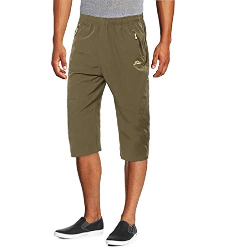 MAGCOMSEN Camping Shorts Men Quick Dry Capri Pants Men Long Shorts Knee Length Pants ()