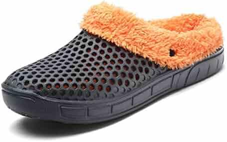 36f6ce1ffb372 YOOEEN Clogs Mules Garden Shoes Men Women Slip On Fur Lined Warm Winter  Slippers Breathable Walking