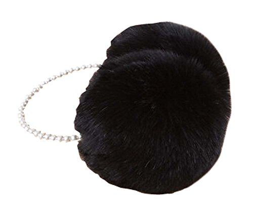 [White] Ear Warmer With Bead Frame Winter Ear Protector Fur Earmuffs