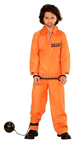 [County Jail Inmate - Childrens Fancy Dress Costume - Medium - Age 8-10 - 140cm by Widman] (County Jail Jumpsuit Costume)