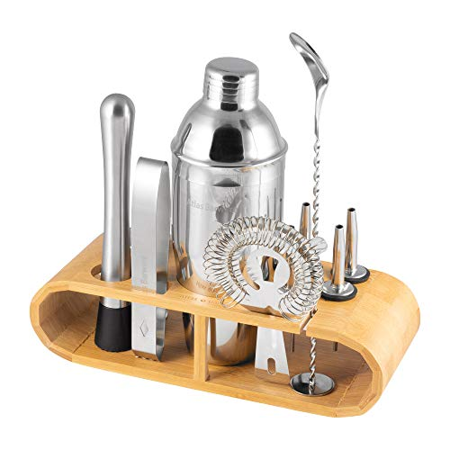 (Atlas&Co Bar Set: 12 Piece Bar Tool Set with Beautiful Stained Bamboo Wood Stand - Ideal Set For Professional and Amateur Drink Makers Alike - With Bonus Cocktail Ebook)