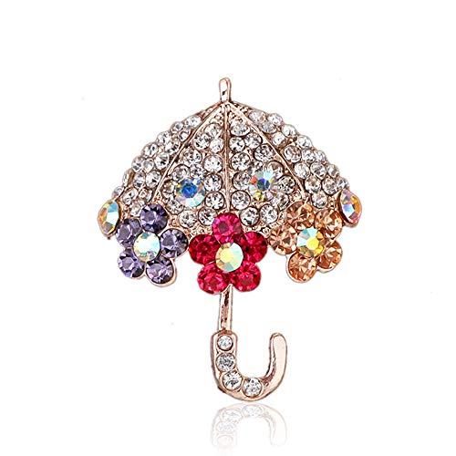 - Chili Jewelry Crystal Umbrella with Flower Brooch Pins for Women Decoration Jewelry Clothes Accessories
