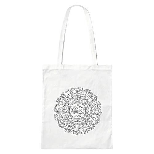 Sac Tote Bag En Coton Blanc Avec Mandala A Colorier Tete De Mort