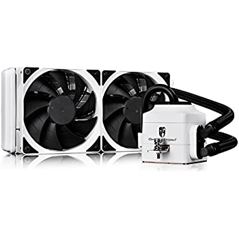 DEEPCOOL CAPTAIN 240EX WH All-in-One Liquid CPU Cooler with 240mm Dual-fan Radiator (AM4 Compatible), White, 3-year Warranty