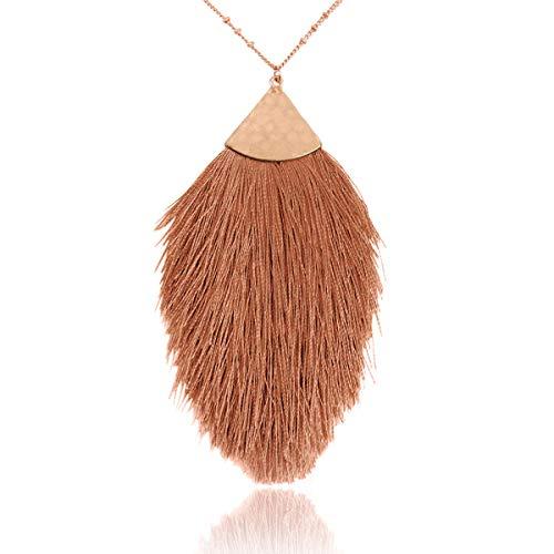 - RIAH FASHION Bohemian Fringe Tassel Pendant Statement Necklace - Silky Strand Semi Circle Fan Charm, Teardrop Thread, Freshwater Pearl Charm Long Chain (Petal Tassel - Copper Brown)