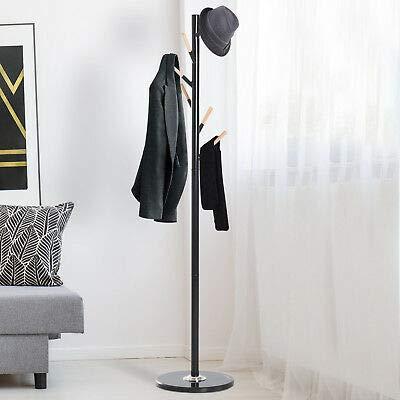 HOMCOM Standing Coat Rack Hat Hanger Hooks Umbrella Holder