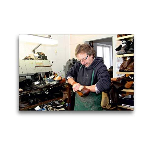 CALVENDO Toile Textile de qualité supérieure de 45 cm x 30 cm - La Chaussure est brossée - Image Murale sur châssis - Impression sur Toile véritable - Motif : Schuster Homme