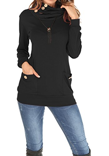 MOLERANI Womens Long Sleeve Button Cowl Neck Casual Slim Tunic Tops With Pockets