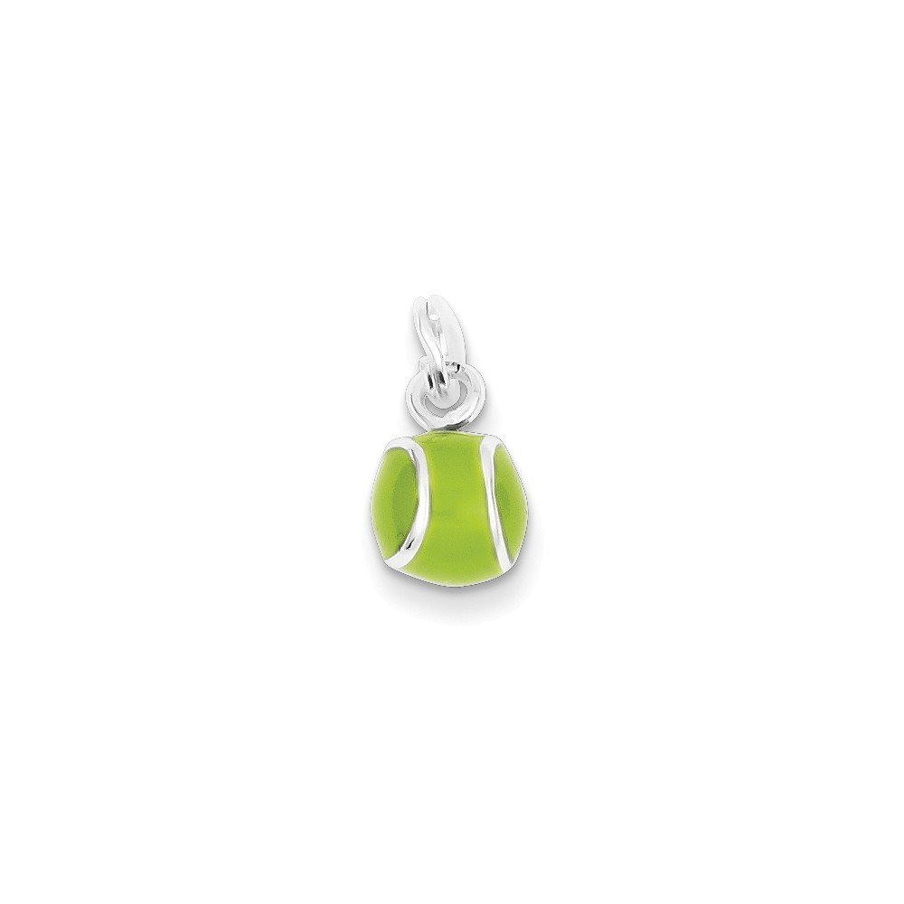 Mireval Sterling Silver Green Enameled Tennis Ball Charm on a Sterling Silver Chain Necklace 16-20