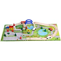 لعبة قطار سكة حديدية حضرية لمرحلة ما قبل المدرسة من 40 قطعة مع مشهد مرور للاطفال، لعبة قطار سكة حديد خشبية تعليمية…