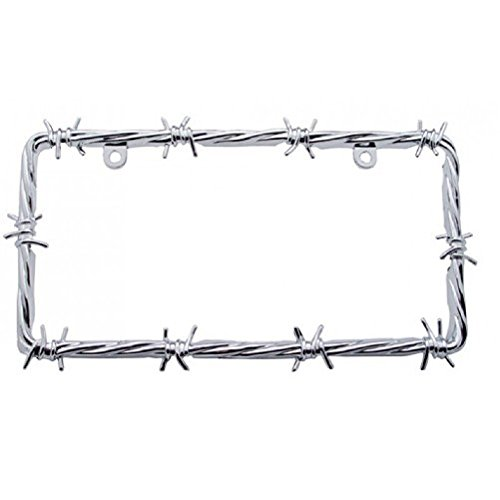 United Pacific Chrome Barbwire Car Pickup Truck License Plate Tag Frame Holder/Ford Chevy ()
