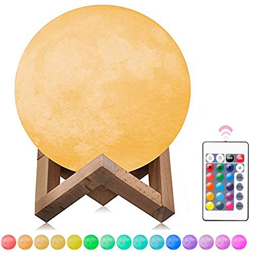 3.9 inch 3D Printing Moon Lamp Night Light, 16 Colors- Dimmable, Rechargeable Remote Control & Touch Sensor Full Set with Wooden Stand - Nursery Decor for Your Baby, Top Christmas Gift Idea