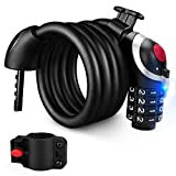 Dobee Bike Lock Chain Lock, Heavy Duty Combination Cable Lock, Anti-theft Security Lock with LED Night Light (4 Digit Numbers 150cm/12mm) Best for Bicycle Tricycle Scooter