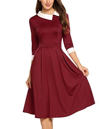Angvns Style Vintage Des Femmes Baissez Col Manches 3/4 En Forme Et Vin Robe De Soirée Fusée Rouge-1