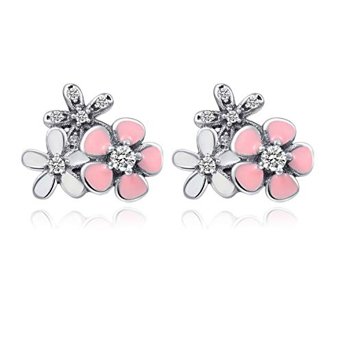 - 925 Sterling Silver Pink White Enamel Cherry Blossom Earrings Clear Cubic Zirconia Micro Paved for Women Girls