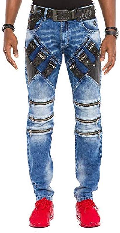 Cipo & Baxx męskie dżinsy dżinsowe spodnie dżinsowe nowoczesne Slim Fit ze sztucznej skÓry zamek błyskawiczny sprany niebieski W33 L32: Odzież