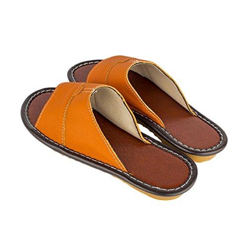 Haisum Tb006-w - Zapatillas de estar por casa de Piel Sintética para mujer naranja