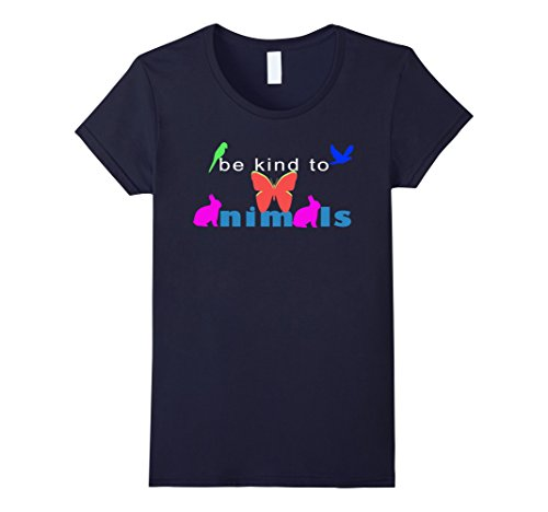[Women's Be kind animals week tee shirts Large Navy] (Parrot Costume Female)