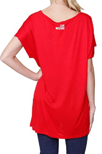 Love Moschino Sleeveless T-Shirt FLOWERS, Color: Red, Size: 44