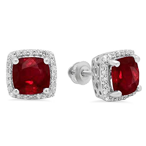 Dazzlingrock Collection 10K 7 MM Each Cushion Gemstone Round Diamond Ladies Square Frame Halo Stud Earrings, White Gold