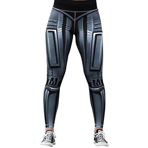 (Gillberry Custom Robot Skeleton Stretchy Capri Leggings Skinny Pants for Yoga Running Pilates Gym (Gray, M))