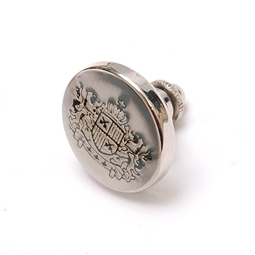 AMANOGAWA Emblem Crown Botton Tack Pin Brooch , Silver