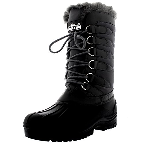 Lace Snow Boots (Womens Nylon Cold Weather Outdoor Snow Duck Winter Rain Lace Boot - 10 - GRE41 YC0136)