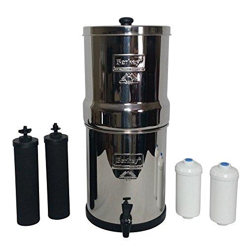Big Berkey BK4X2 Countertop Water Filter Method with 2 Black Berkey Elements and 2 Fluoride Filters
