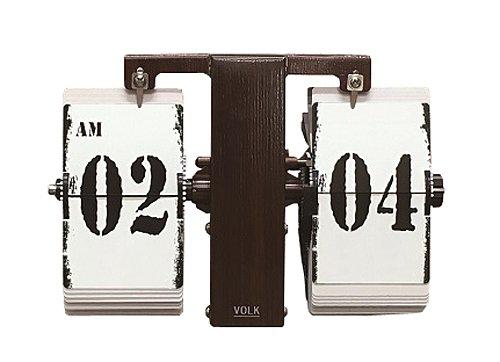 HOUSE USE PRODUCTS 置き掛け兼用時計 フリップ式 Volk ウッド ACL091 B01CQPIL1G ウッド ウッド